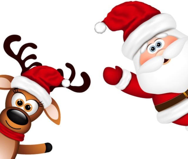 Funny Santa And Reindeer On White Background