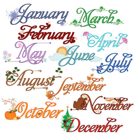 Monthly Calendar Titles Stock Vector - 41799401