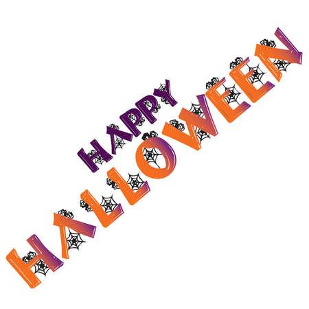 Webbed Happy Halloween Typography Title Stock Vector - 43452432