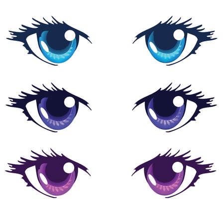 Light Blue Royal blue and Purple Color Anime Eyes Stock Vector - 43558341