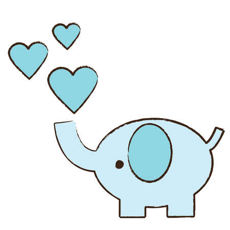 Baby blue elephant blowing hearts Stock Vector - 43558768