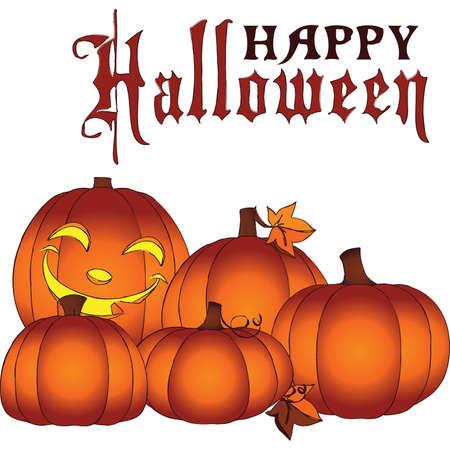 Glowing Happy Halloween Mini Pumpkin Patch Stock Vector - 46271401