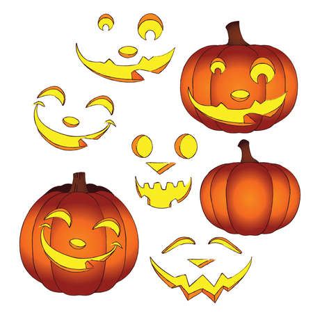 Glowing Halloween Jack-o-Lanterns with interchangeable Faces Stock Vector - 46271400