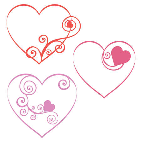 Red Romantic Swirl Valentine Hearts set 3 Stock Vector - 47047552