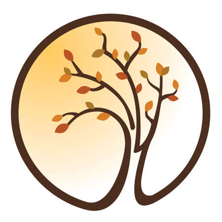 Orange and Yellow tree icon Illustration
