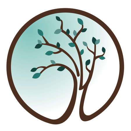 Teal Tree Icon Illustration