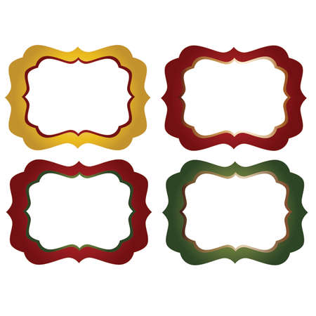Red, yellow and Green Ornate Decorative Frames