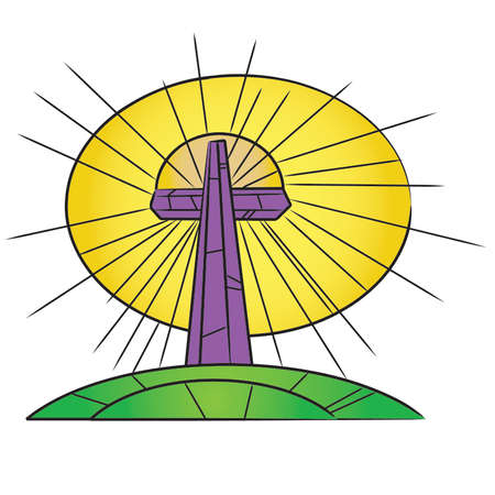 Single Stained Glass Easter Cross On a Hill Stock Vector - 54756587