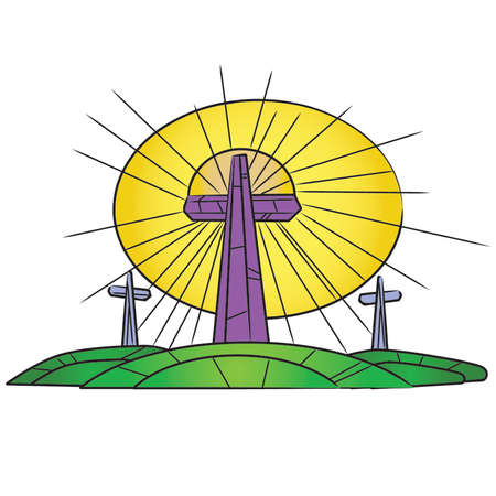 Stained Glass Easter Crosses On a Hill Stock Vector - 54756589