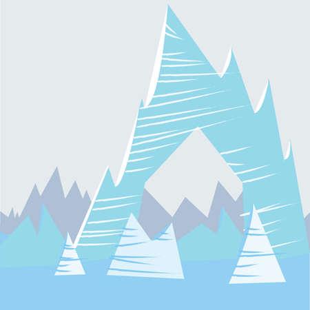 Blue cartoon mountain background Stock Vector - 57000090