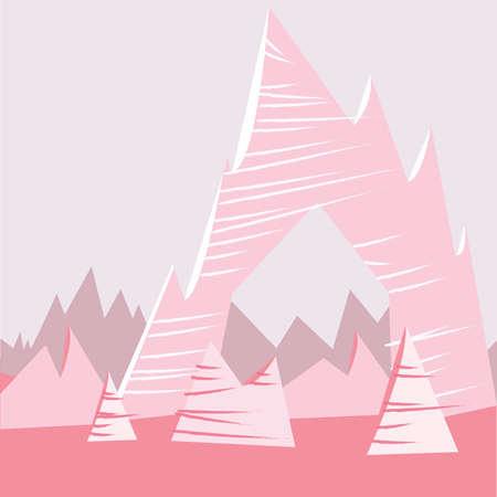 Pink Cartoon Mountain Background Stock Vector - 57000091