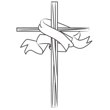 Coloring Book Stained Glass Cross with Banner Stock Vector - 57536347