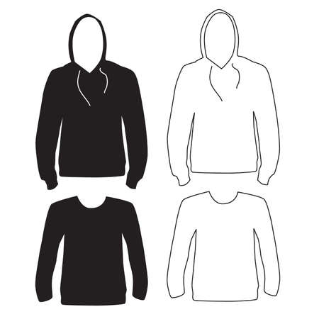 Hoodie and Long Sleeve Shirt Silhouette and Outline Stock Vector - 57536350
