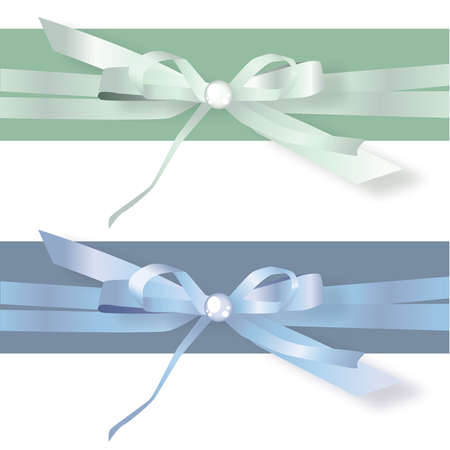 Green and Blue Stain Ribbon bows Stock Vector - 57536719