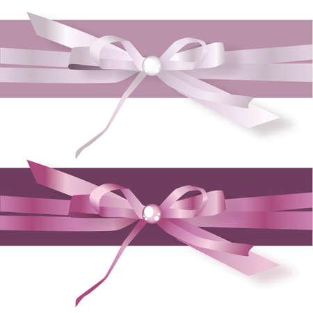 Lilac and Purple Satin Ribbon Bows Stock Vector - 57536722