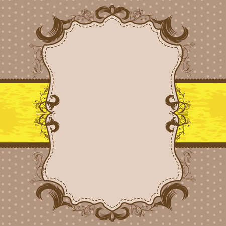 Vintage Framed Shower or Wedding Invite with Yellow Ribbon Stock Vector - 57535721