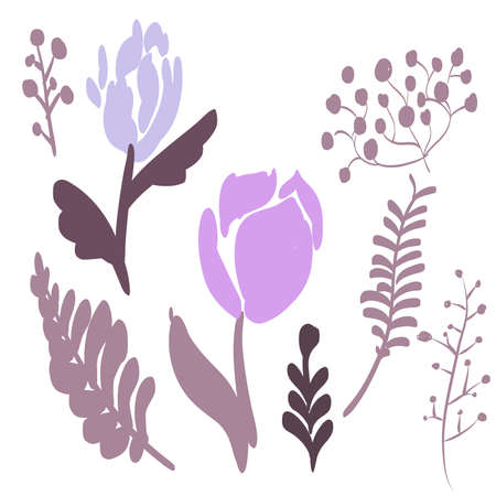 Retro Brush Stroke and hand drawn foliage and fern set, purple 68749217