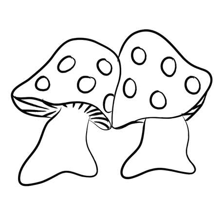 Hand Drawn Spotted Mushrooms, Black and white 68719222