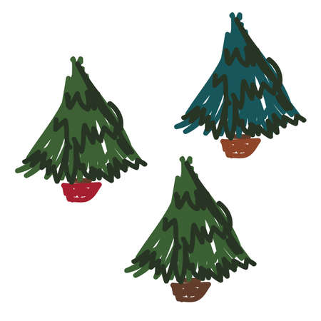 Hand Drawn Pine Trees Set 68719235