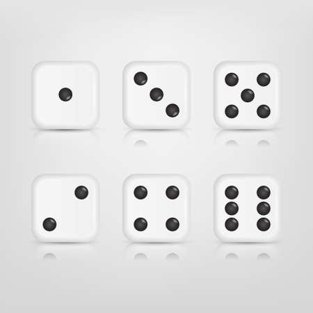 numbers 4 5 6: Vector EPS10 Illustration of a set of white dices with reflection