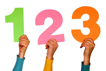numbers 1 2 3: one,two and three colorful numbers at hands Stock Photo