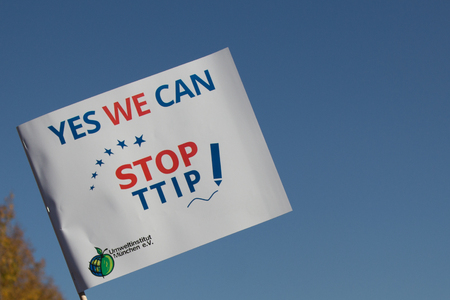 ttip: yes we can stop TTIP, slogan Stock Photo