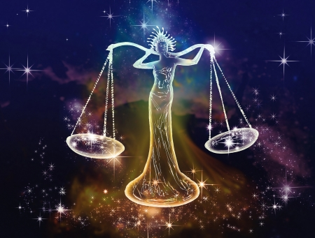 September - October are the months of the zodiac sign of the balance  Libra is Space attribute of justice, balance and equilibrium  Air, artistic, emotional representatives of this sign  Stock Photo - 20428907