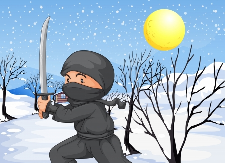 snowflakes ninja: Illustration of a ninja with a sword in the snow Illustration