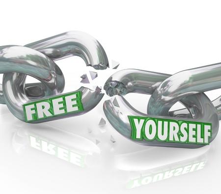 break free: Le parole Yourself gratuito su maglie della catena di rottura a parte che rappresenta una lotta per la libertà e la liberazione dalle regole oppressive e figure autorità vincolante che di essere liberato Archivio Fotografico