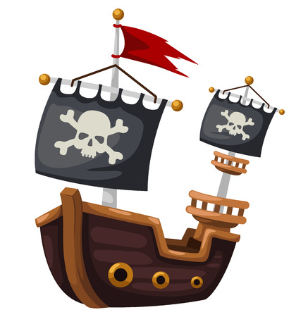 cartoon pirate: Pirate ship vector illustration