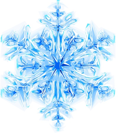 ice water snow crystals: nice blue snowflake isolated on the white background