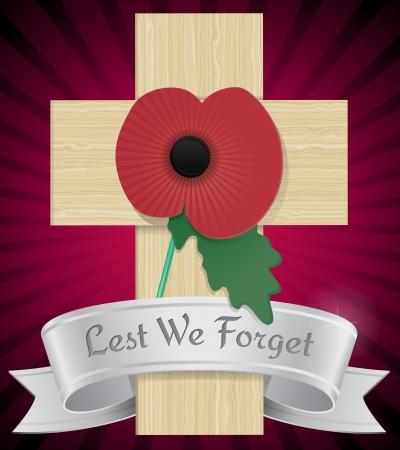 Remembrance Poppy on cross Stock Vector - 16031409