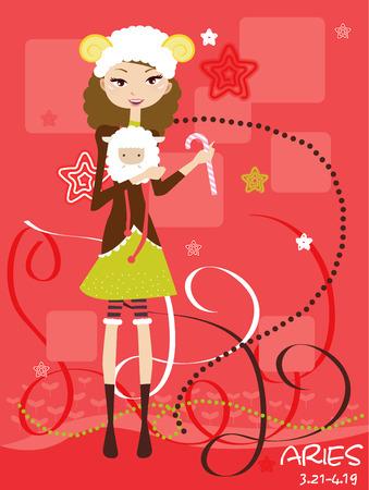 Illustraon of  fashion horoscope Aries cute funny girl  Stock Vector - 8069941