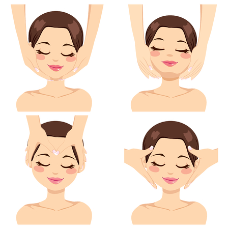 Collection of four different facial massage techniques on beautiful brunette young woman isolated on white background Stock Vector - 23901977