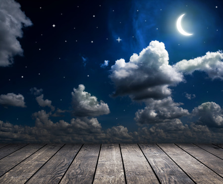 night sky with stars, moon and clouds Stock Photo - 38423645