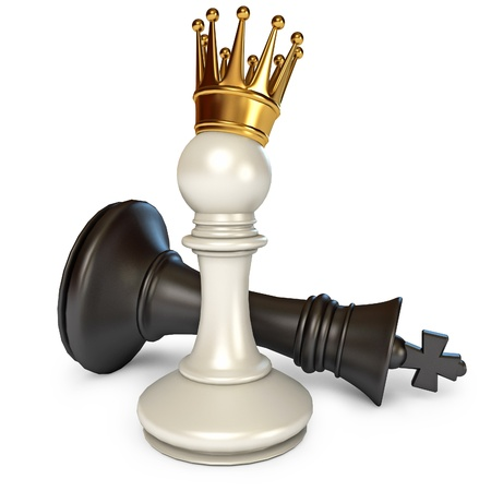 war victory: White does the pawn checkmate, Pawn with golden crown