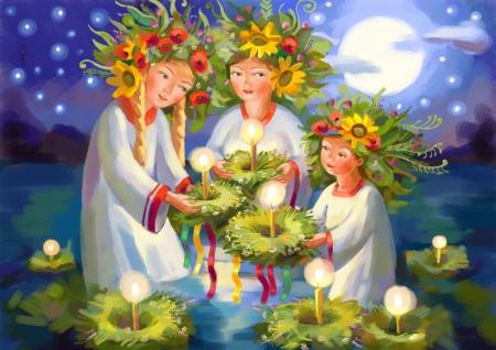 Summer solstice. Midsummer Day. Ivan Kupala. Pagan holiday. Hand-drawing Stock Photo - 24723109