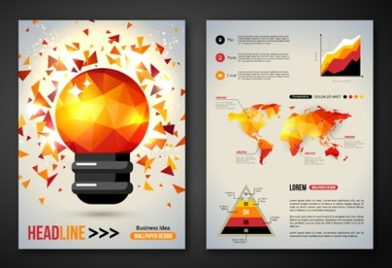 Set Of Flyer  Brochure Design Template  Geometric Triangular     Set of Flyer  Brochure Design Template  Geometric Triangular Abstract  Modern Background with Light Bulb