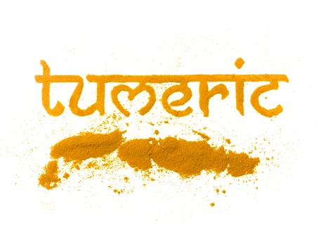 tumeric: isolated tumeric curry spice written in letters Stock Photo