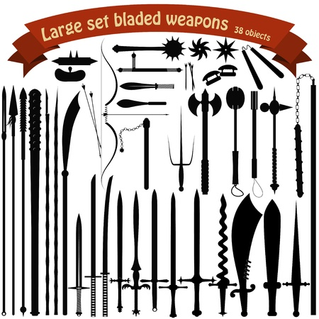 NINJA WEAPON ICONS: A large set bladed weapons Illustration