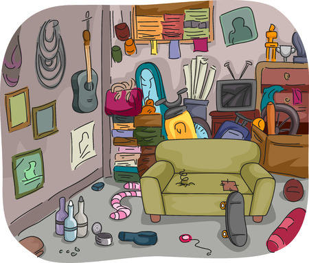 Ilration Of A Room Full Clutter