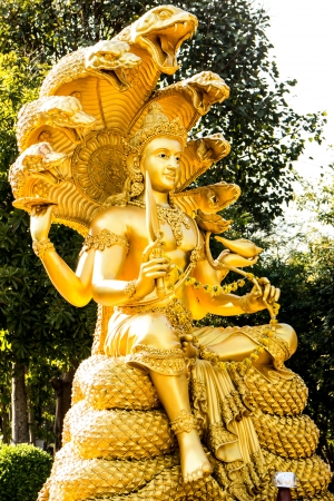 SNAKE GODS: gold narayana statue Stock Photo