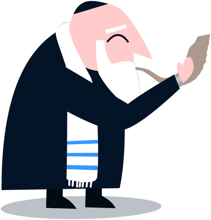 Vector illustration of a Rabbi with Talit blows the shofar the Jewish holiday Yom Kippur. Stock Vector - 25502828