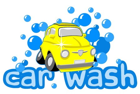 Car wash with bubbles and text Stock Vector - 20279088