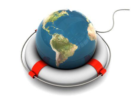 survivor icon: 3d illustration of earth globe in rescue circle