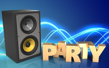 3d Illustration Of Sound System Over Sound Background With Notes      86802667   3d illustration of sound system over sound background with  party sign