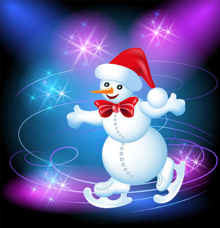 Happy and merry Snowman in a hat on a skating rink Stock Photo - 16438359