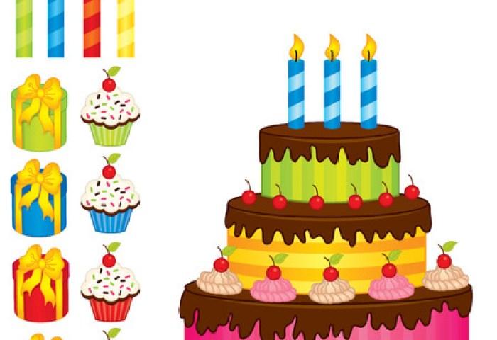 Vector Pastel De Cumpleaños Con Velas Pastel De Vector Decorado Con