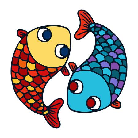 Pisces Zodiac sign cartoon isolated illustration Stock Vector - 24594269