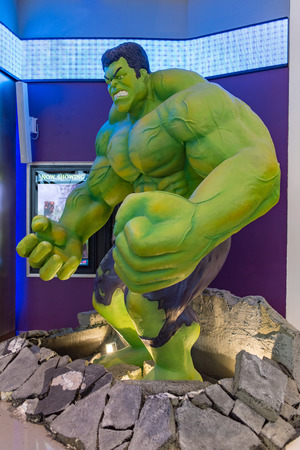 hulk angry: Bangkok, Thailand - October 31, 2015 : Large model of the hulk in front of the cinema theatre